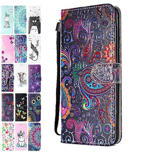 ANCASE Funda de Cuero Compatible con Huawei P20 Lite con Tapa Libro PU Case Cover Completa Protectora Funda para Teléfono Piel Tarjetero Modelo - Encaje de Colores