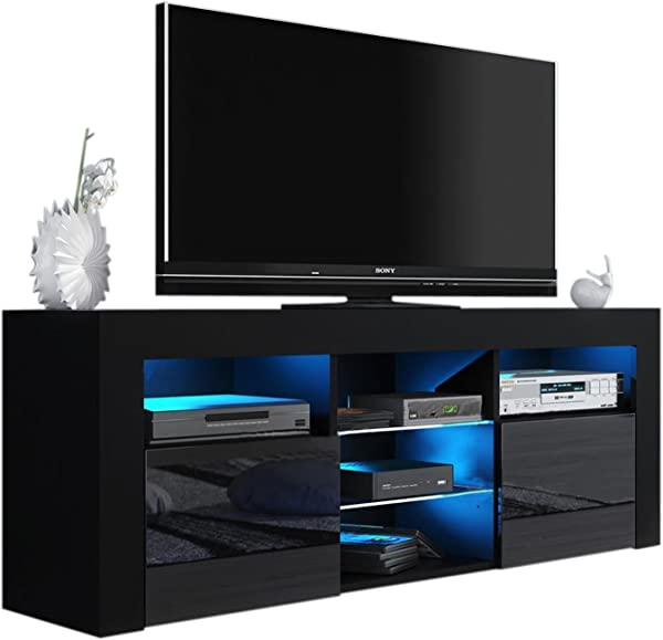 MEBLE FURNITURE RUGS Milano 145 Modern TV Stand Matte Body High Gloss Fronts Black