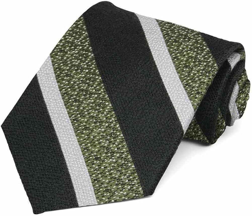 TieMart Regent Morris Neckwear Green and Black Accountant Stripe Wool/Silk Necktie