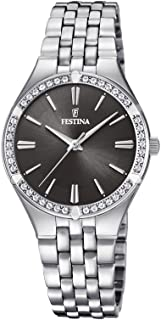 Festina F20223/2 Stainless Steel Black Dial Stone-Embellished Bezel Round analog Watch for Women - Silver