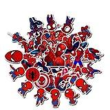 Qemsele Adesivi Bambini, 100 Pezzi Supereroe Stickers Vinili Decals Adesivo Bagaglio per Computer Portatile, Automobili, motociclette, Bicicletta, Skateboard, Bagagli, autoadesivi paraurti(Spiderman)