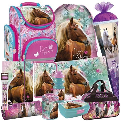 Pferd Pony Horses 15 Teile Set Schulranzen RANZEN FEDERMAPPE Tasche TORNISTER inkl. Sticker v. Kids4shop