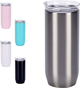 16 oz Insulated Glass Tumbler Double Wall Stainless Steel Travel Coffee Mug with Lids, Glass Reusable Coffee Cup for Ice Beverage and Hot Drinks (Silver )