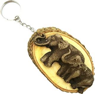 Chanok Elephant Key Ring - Wooden & Resin Keychain Convex - Purse Bag Buckle - Hanging Backpack Wallet - Wood Key Chain Ring - Car Holder Chain - Keyring Souvenir Gift Keepsake