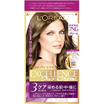 L'Oreal Paris(ロレアルパリ) エクセランス N クリームタイプ 白髪染め 白髪女性用 7NG 緑がかった明るい栗色 下地エッセンス: 12ml 1剤: 48g 2剤: 48g トリートメント: 40g
