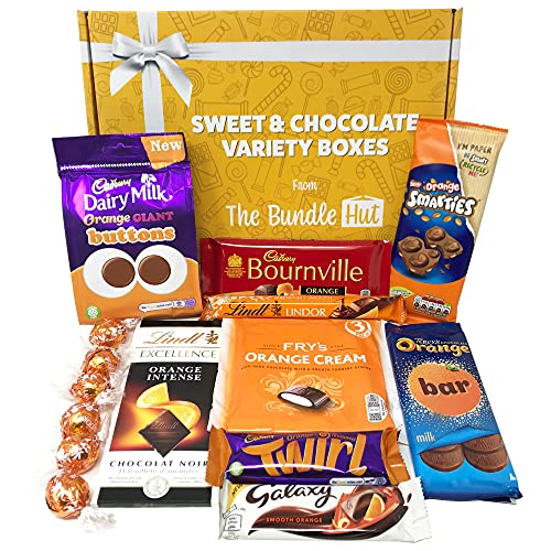 Chocolate Orange Gift Set Hamper Selection Box from The Bundle Hut: Includes Cadbury Orange Twirl, Cadbury Orange Buttons, Galaxy Smooth Orange & Lindt, Gift for Christmas, 900g