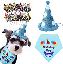 ACAPETTY Dog Birthday Bandana, Dog Triangle Scarf and Party Hat & 24 Pack Cake Flags for Pet Birthday Party Set Birthday Gifts for Small to Large Dogs