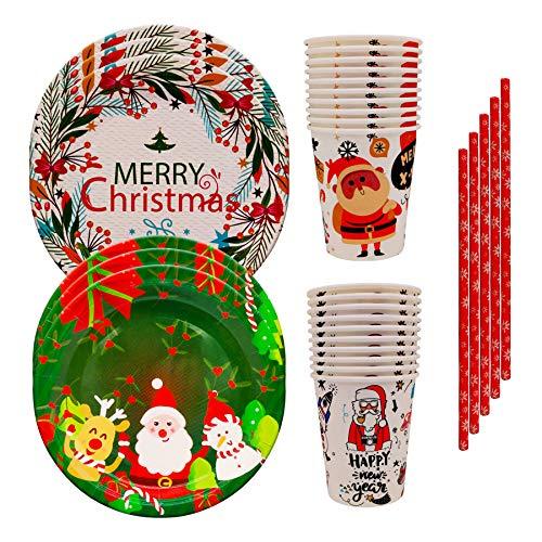 60 Vajilla Desechable de Navidad Para Banda 20 Platos de Papel 20 Vasos de Papel 20 Pajitas Para Fiestas de Cumpleaños y Bodas Para 20 Personas