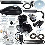 Iglobalbuy 50cc/ 80ccBicycle Engine Kit 2-Stroke Cycle Petrol Gas Motor Engine Kit for Motorized Bicycle 26'/28' Bike (Black) (80cc)