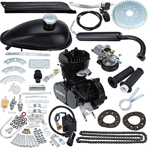 "Iglobalbuy 50cc/ 80ccBicycle Engine Kit 2-Stroke Cycle Petrol Gas Motor Engine Kit for Motorized Bicycle 26""/28"" Bike (Black) (80cc)"