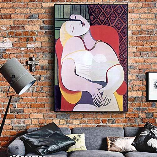 QWESFX Frau in einem Sessel Wandkunst Leinwand druckt Gemälde an der Wand Bilder für Wohnzimmer (Druck ohne Rahmen) B 40x60CM