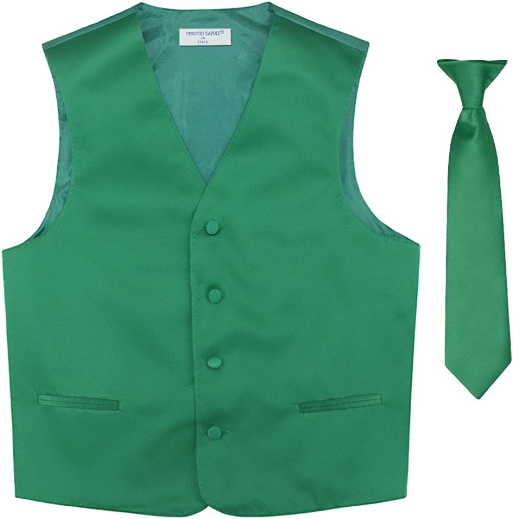 BOY'S Dress Vest NeckTie Solid EMERALD Tie Se Neck Max 76% OFF Color GREEN Recommendation