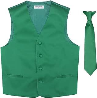 BOY'S Dress Vest & NeckTie Solid EMERALD GREEN Color Neck Tie Set