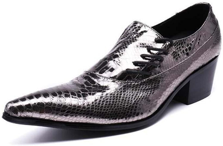 Winklepicker Genuine Leather Men Pump Point Toe 5cm Block Heel Business Casual Leather shoes Wedding shoes Snakeskin Pattern Monk Lazy shoes Tide Hairdressing shoes EU Size 37-46