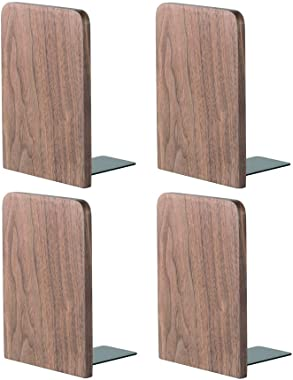 "muso wood Walnut Wooden Bookends,Office Desktop Book Ends,5.1""x3.2"" (Walnut-2 Pairs)"