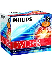 Philips DVD+R blanco's (4,7 GB data/120 minuten video, 16x high-speed opname, 10 Jewel Cases)