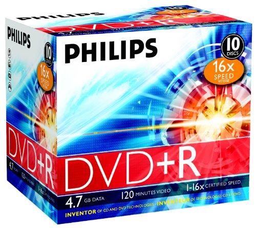 Philips DVD+R 4,7GB 16x Jewel Case 10 Unidades - DR4S6J10C