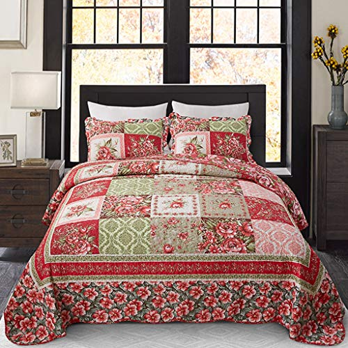 Best Pastoral Cotton Patchwork Bedspread Quilt Set Queen 3-Piece