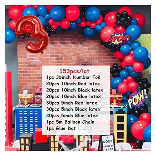 JSJJAER Globos de cumpleaños 153 unids Spiderman Latex Arch Kit Guirnalda Globo 30'Número Supper Hero Temas de cumpleaños Decoraciones de Fiesta Esenciales de Fiesta (Color : 3)