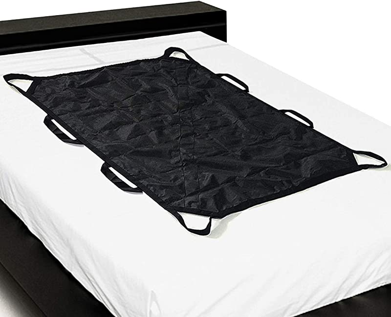 Multipurpose 55 X 36 Positioning Bed Pad With Reinforced Handles By ZHEEYI Reusable Washable Patient Sheet For Turning Lifting Repositioning Double Sided Nylon Fabric Black