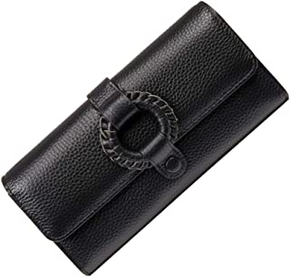 KIMINII Genuine Leather Clutch Wallets For Women with Circle Decoration Large Capacity Long ID Card Holder Organizer 6922