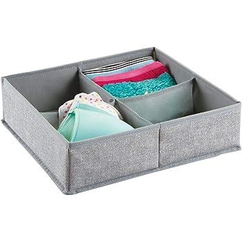 mDesign – Caja organizadora de tela (4 compartimentos) – Precioso organizador para ropa interior y accesorios – Cesta para ordenar cajones y cómodas – Color gris: Amazon.es: Hogar