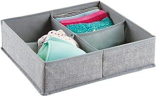 mDesign – Caja organizadora de tela (4 compartimentos) – Precioso organizador para ropa interior y accesorios – Cesta para ordenar cajones y cómodas – Color gris