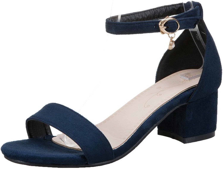 WeenFashion Women's Frosted Buckle Open Toe Kitten-Heels Sandals