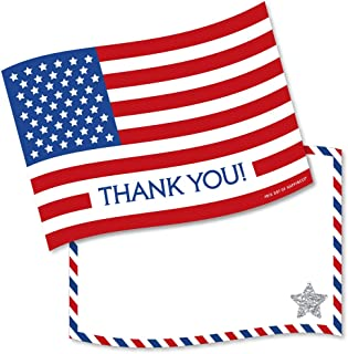 Big Dot of Happiness 4th of July - Shaped Thank You Cards - Independence Day Thank You Note Cards with Envelopes - Set of 12