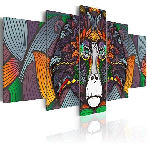murando Cuadro en Lienzo 200x100 cm Animales Impresión de 5 Piezas Material Tejido no Tejido Impresión Artística Imagen Gráfica Decoracion de Pared Colorido Mono g-A-0115-b-p