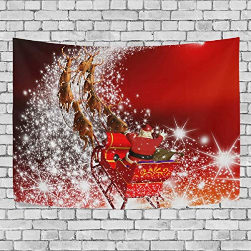 AEMAPE Xmas Santa Claus with Reindeer Sleigh Bedroom Tapestry Exclusive Wall Hanging Multi Purpose Backdrop Hangings for Living Room, Doorway and Kitchen. 60x40 inch-27