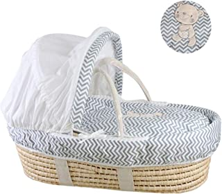 YXGH@ Baby Moses Basket Newborn Sleeping Basket Portable Car Cradle Baby Portable Basket Straw Baby Cradle Bed for 0-8 Months