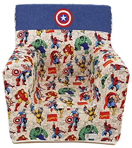 Sillón o asiento infantil de espuma para bebés y niños. Varios modelos y colores disponibles. (Marvel)