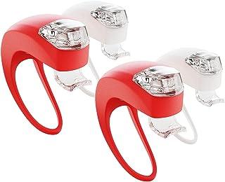 ABSINA LED Klemmlichter 4er Set - Kinderwagen Licht regenfest mit 3 Funktionen als Kinderwagen Zubehör - Silikon Klemmleuchte Kinderwagen Buggy Beleuchtung Kinderwagenlicht Blinklicht Klemmlicht