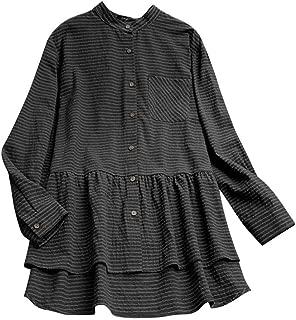 Holzkary Shirt Ladies Tunic Long Sleeve/Short Sleeve Linen Plain Blouse Button-Down Tops for Women