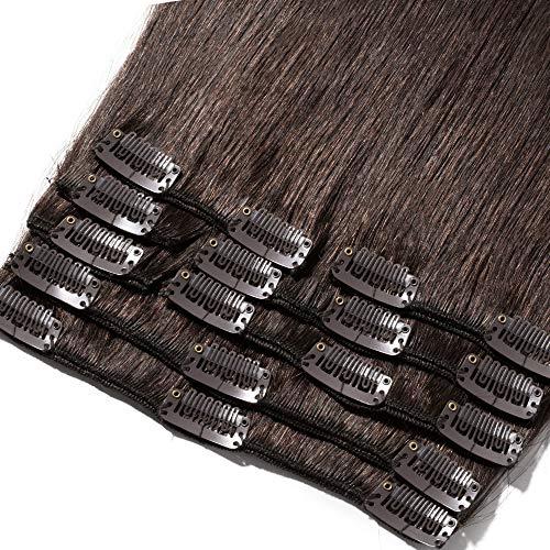 Rich Choices Extension Clip Capelli Veri 8 Fasce #2 Marrone Scuro Full Head 100% Remy Human Hair Extensions, Lunga 25cm Pesa 75g