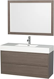 Wyndham Collection Daniella 48 inch Single Bathroom Vanity in Gray Oak, Acrylic Resin Countertop, Integrated Sink, and 46 inch Mirror