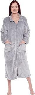 Womens Full Length Zip Up Robe - Plush Fleece Long Zipper Housecoat