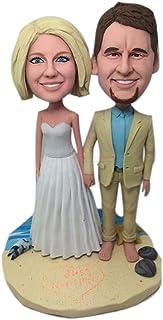Statuetta di Topper per torta nuziale da spiaggia Statuetta di argilla personalizzata personalizzata Bobble Head basata su...