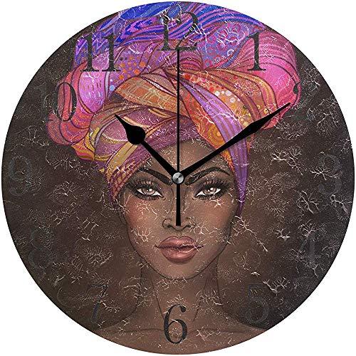 Mitta Yane Round Clock Reloj De Pared Mujer Afroamericana Silencioso Sin Tictac Operado Redondo Fácil De Leer Hogar Oficina Reloj Escolar