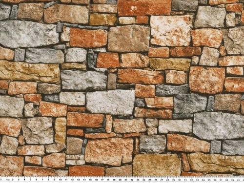 Zanderino ab 1m: Schöner Dekostoff, Mauer, beige-braun, 140cm breit