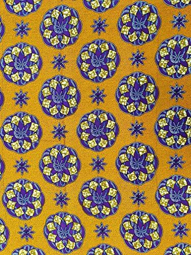 Tela de algodón inspirado en estilo africano – Tamaño: 5,5 m de largo x 1,2 m de ancho) tela Ankara