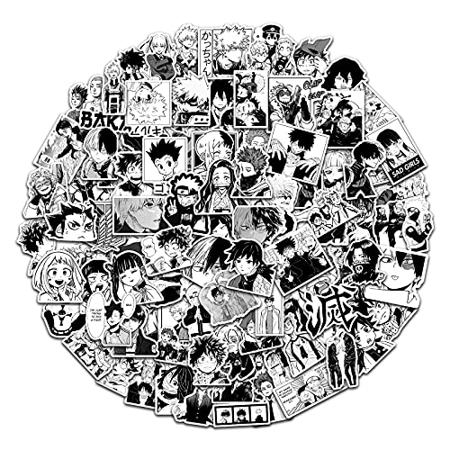 Anime Stickers 100 Pcs Black White Mixed Manga for Hydro Flask Teens Adults Vinyl Waterproof Anime Stickers Cartoon Decals Laptop Skateboard Water Bottles Computer Phone