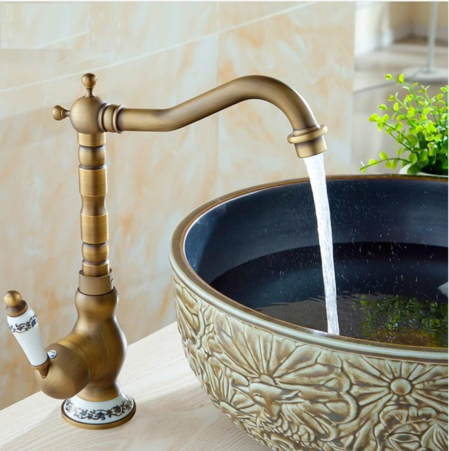 Dwthh Bathroom Sink Faucet Antique Bronze Bath Basin Crane Faucet Water Tap Single Handle Cold and Hot Water
