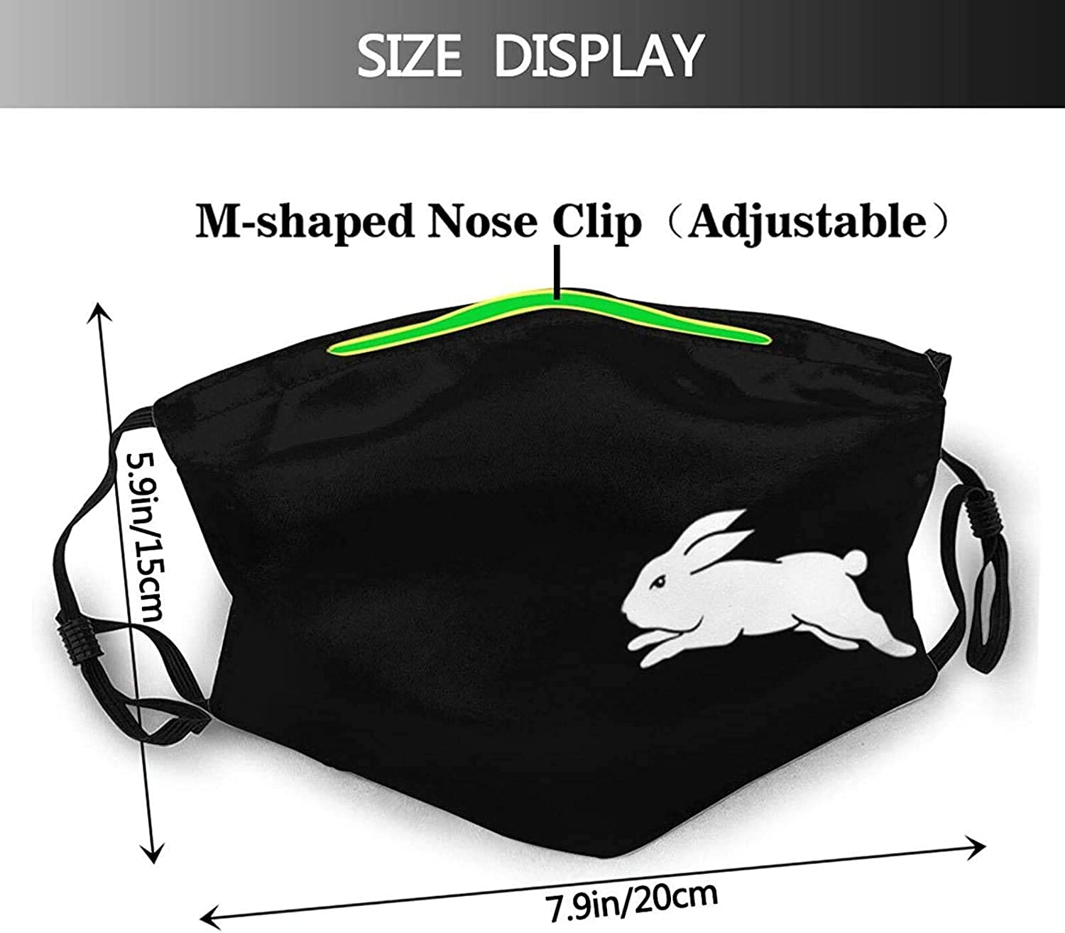Cute Floral Rabbit Bunny-Face Mask with 2 Filters, Reusable&Washable Balaclava, for Men Women Adult&Teens-Cute Funny Animal Bunny Rabbit