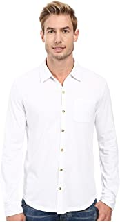 Mod-o-doc Summerland Knit Long Sleeve Jersey Button Front Shirt White Men's Long Sleeve Button Up