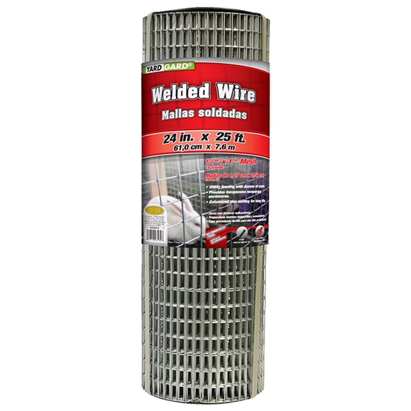 YARDGARD 309301A 24 inch by 25 foot 16 gauge, 1/2 inch by 1 inch mesh galvanized welded wire