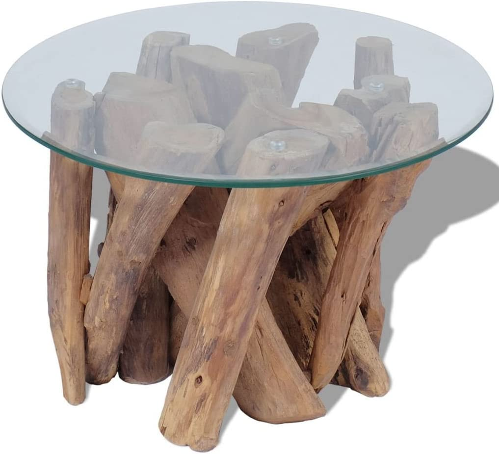 vidaXL Solid Teak Driftwood Coffee Table Living Room Side Stand Glass Tabletop