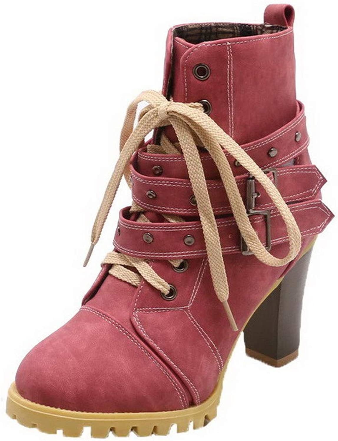 AmoonyFashion Women's Low-Top Hook-and-Loop Frosted High-Heels Round-Toe Boots, BUSXT117764