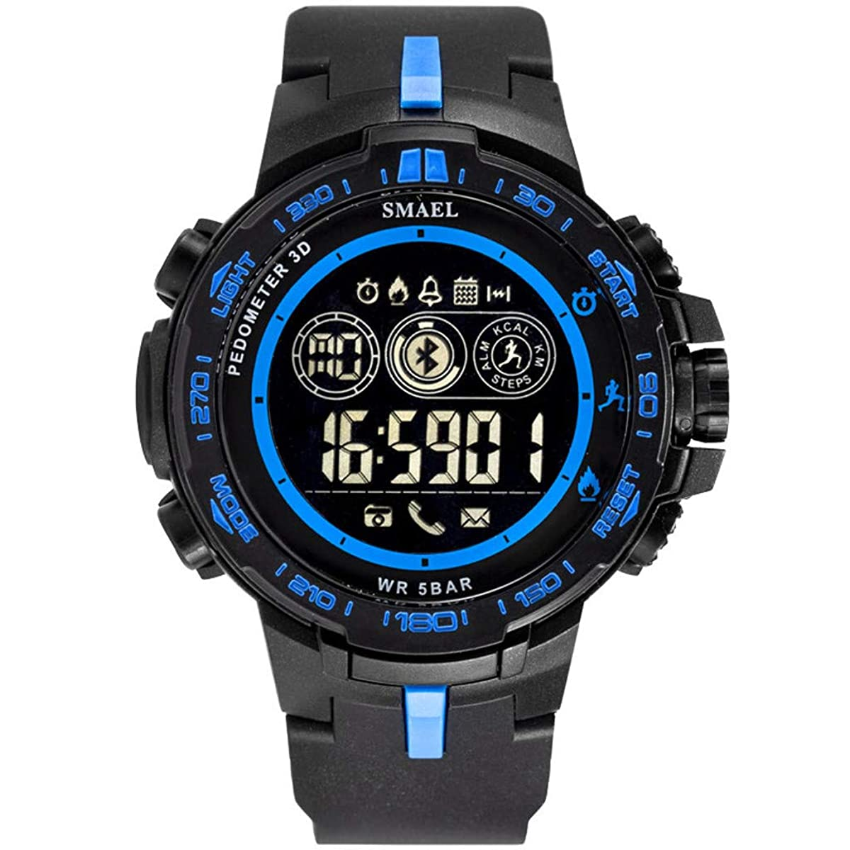 WoCoo Bluetooth Sport Waterproof Smartwatch with Remote Camera Call Reminder Digital Wristwatch Compatible with iOS Android